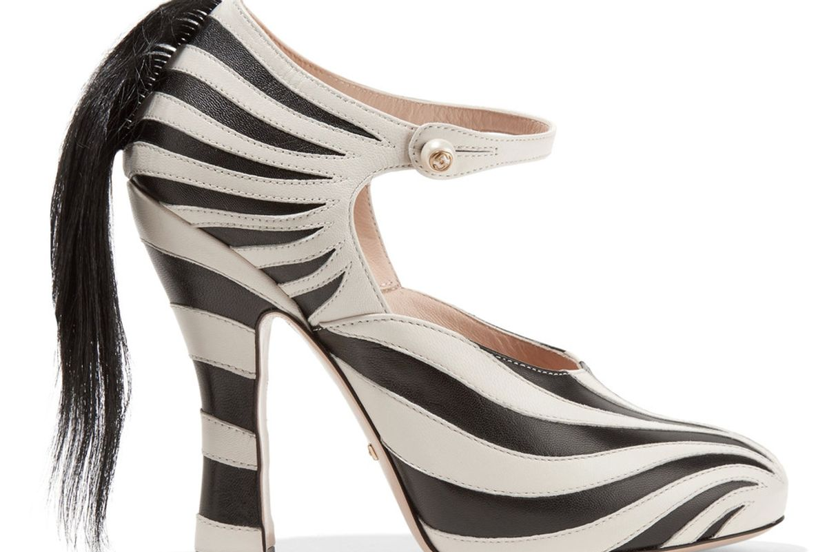 Goat Hair-Trimmed Leather Pumps