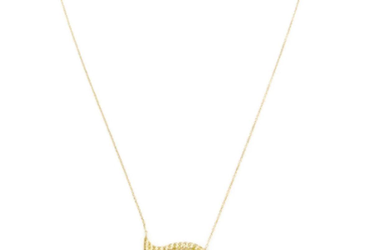 Gold And Canary Diamond Eyelash Teardrop Necklace