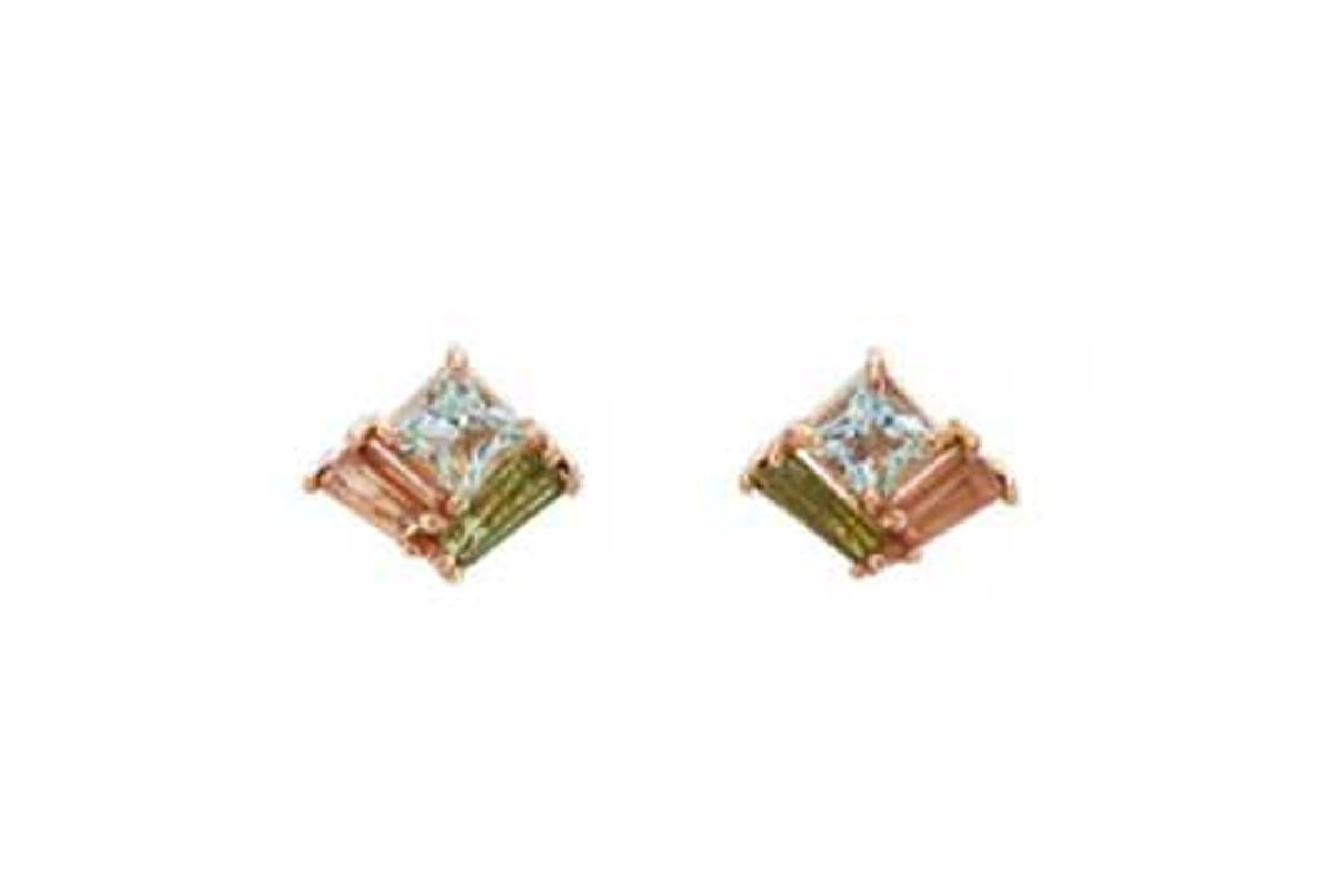nak armstrong mosaic mixed gemstone stud earrings