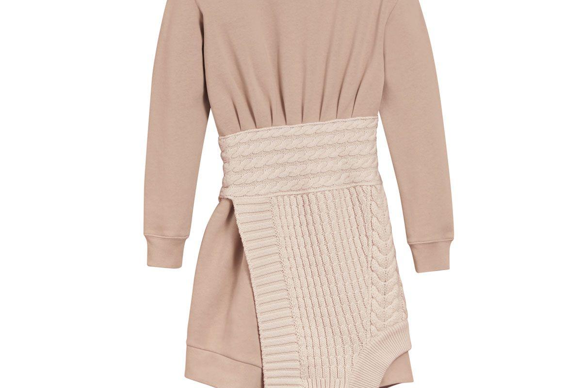Cashmere Cable Knit Panel Sweatshirt Dress
