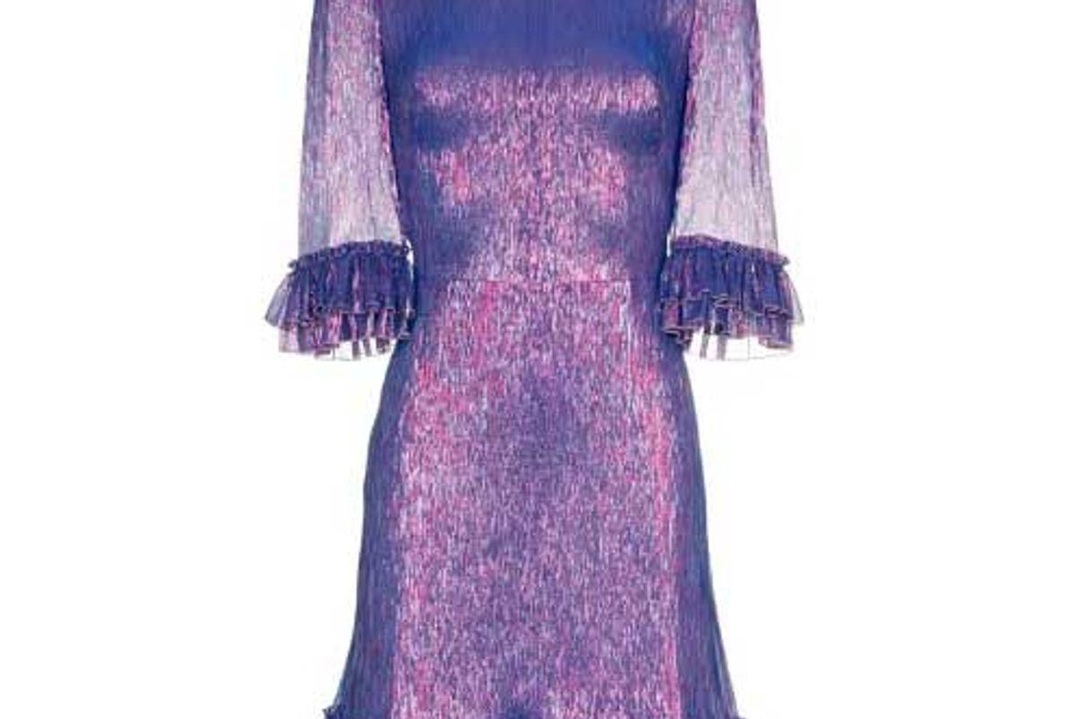 the vampires wife metallic mini frill dress