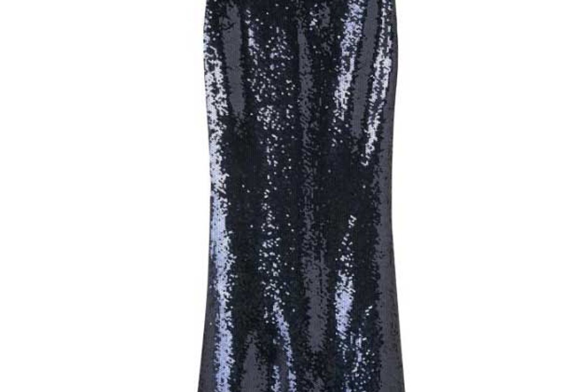 blue full length sequin skirt