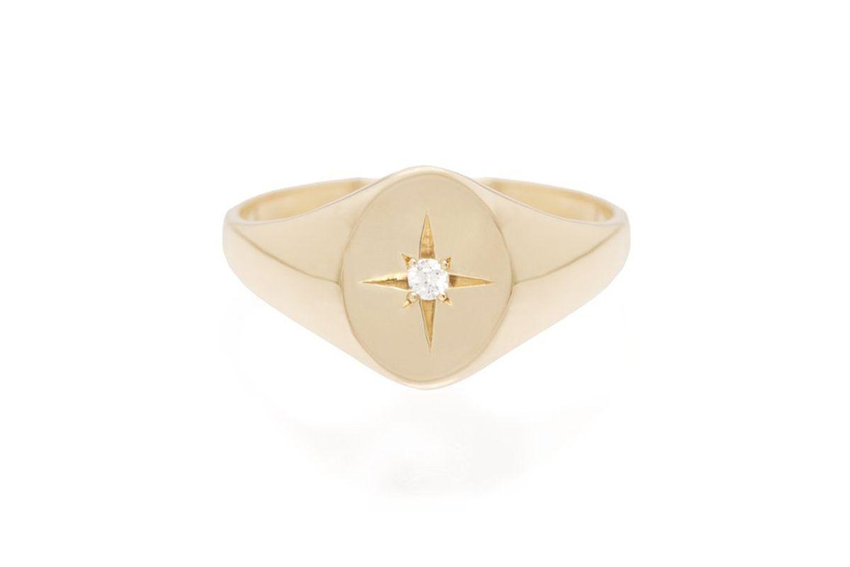 zoe chicco 4k star set diamond signet ring