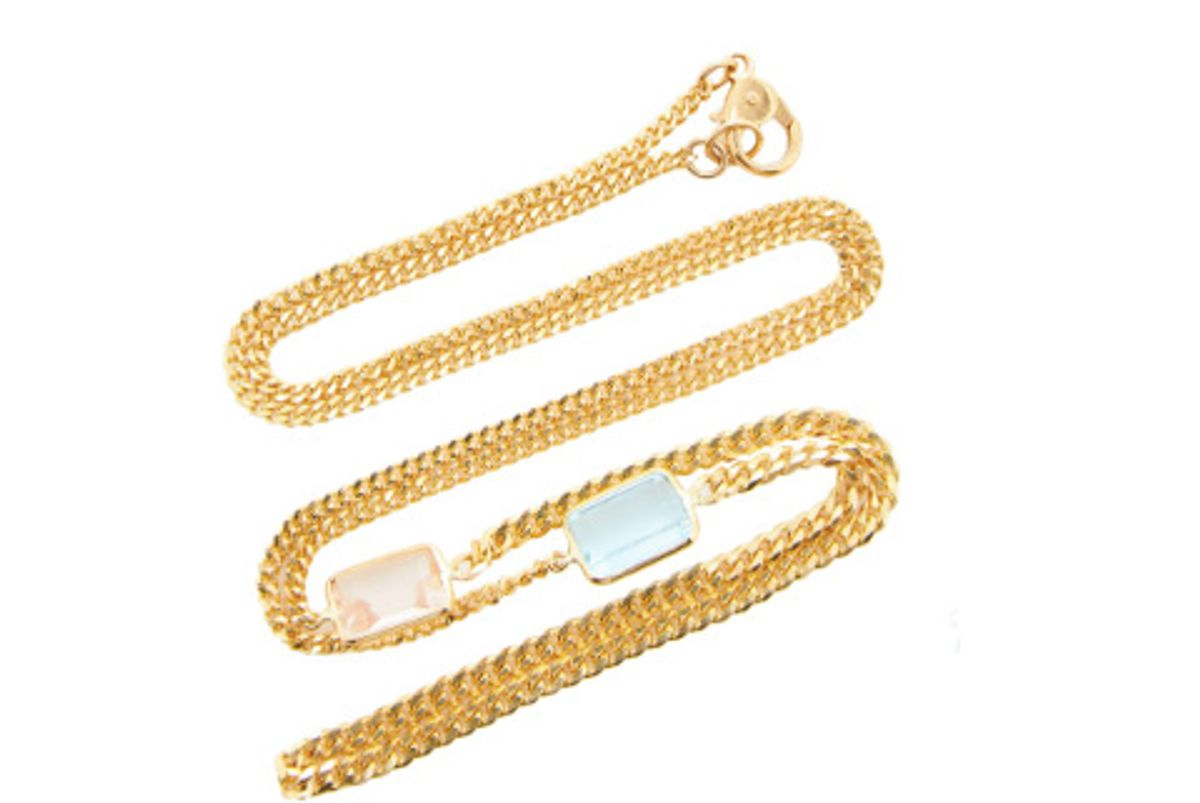 objet a 18k gold morganite and aquamarine necklace