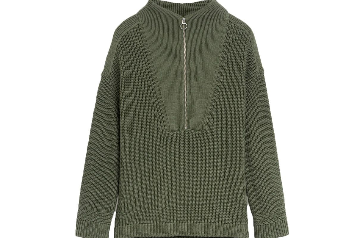 closed cotton half zip sweater