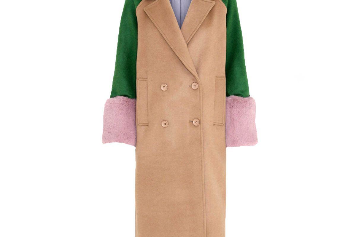 meotine karo wool coat green
