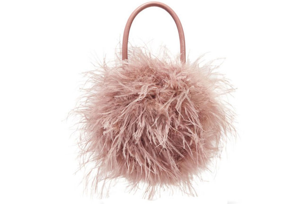 loeffler randall zadie feather and leather tote