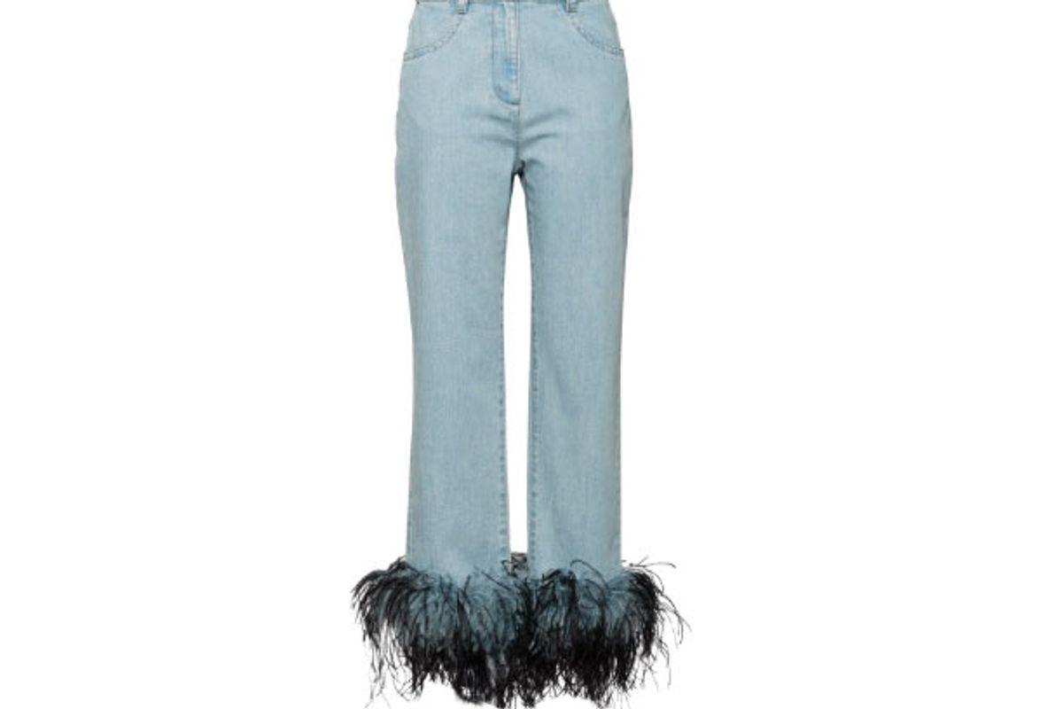 prada feather hem jeans