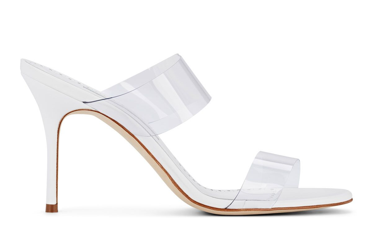 manolo blahnik scolto pvc and leather mules