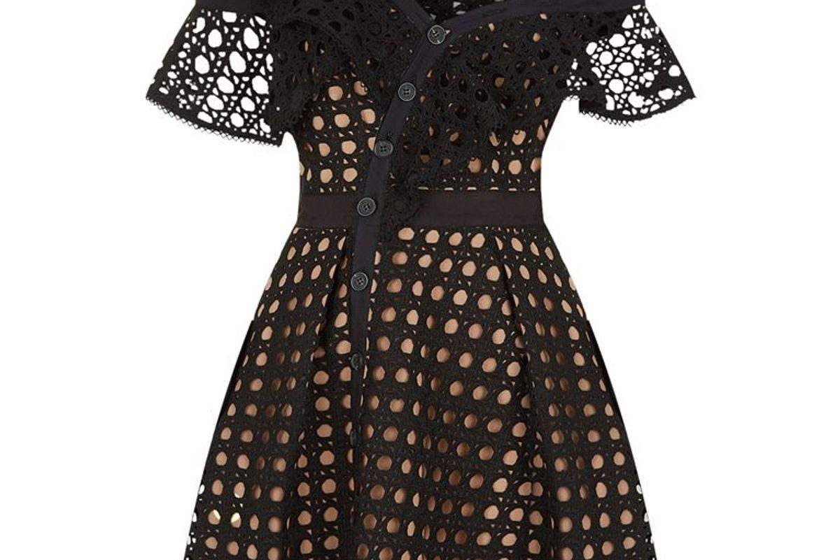 Self Portrait Guipure Lace Asymmetric Mini Dress