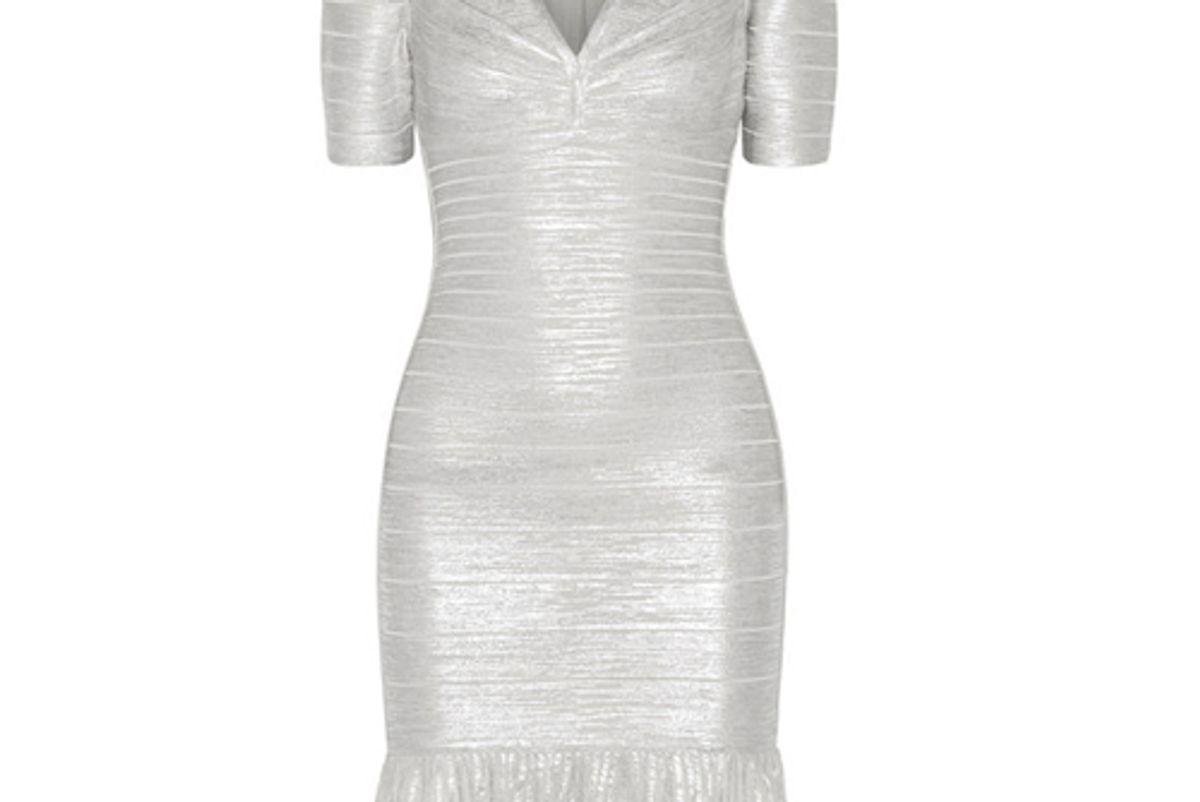Hervé Léger Viviane Metallic Bandage and Ribbed-Knit Dress