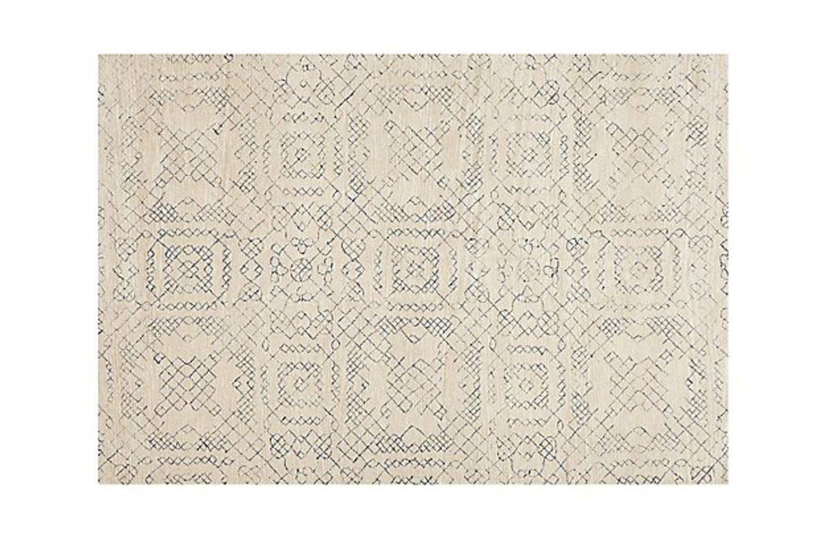 crate barrel azulejo neutral moroccan style rug