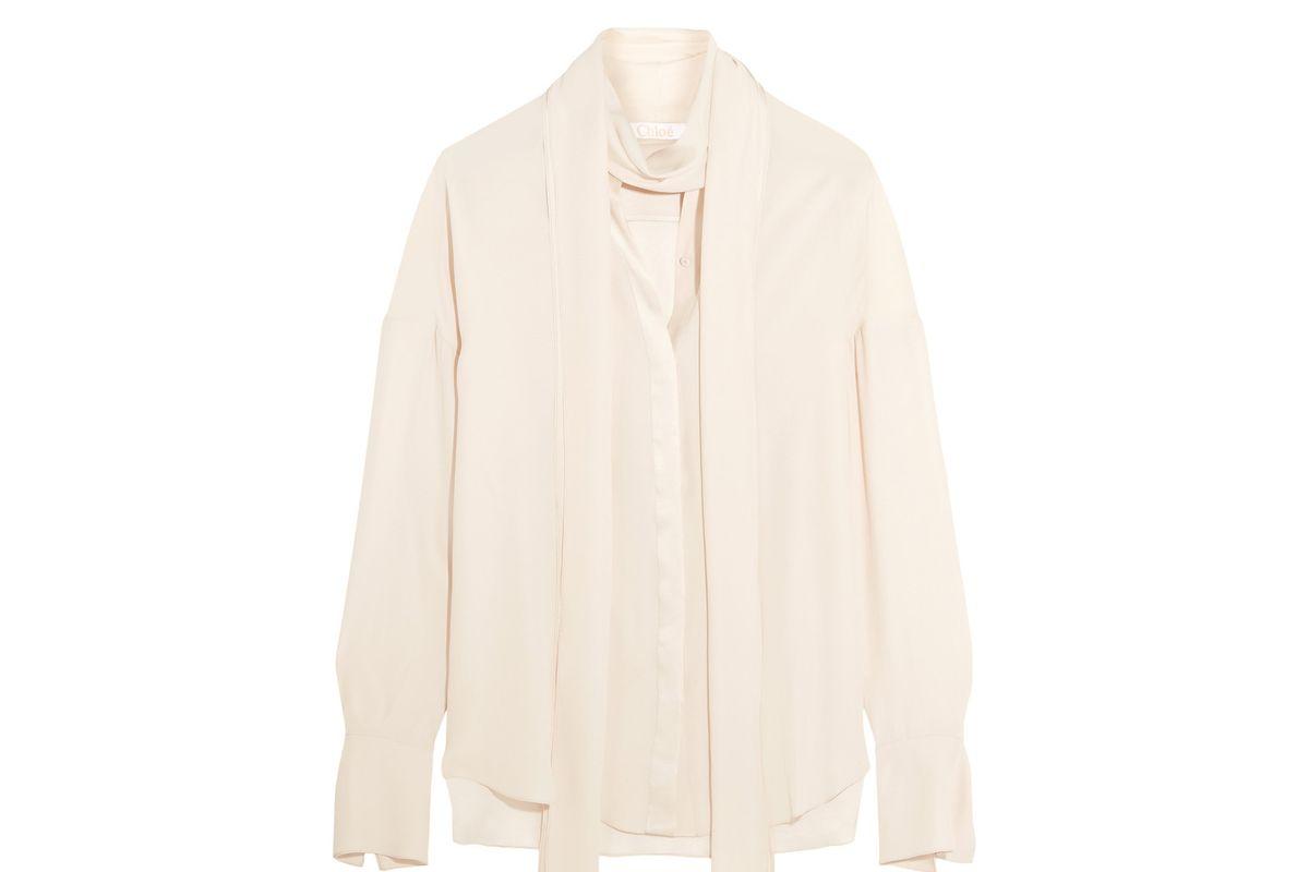 Satin-trimmed silk crepe de chine blouse