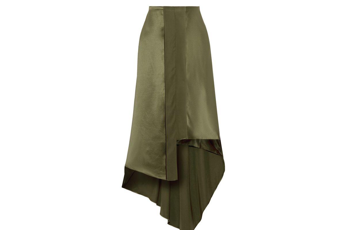 Sydney asymmetric silk-satin midi skirt