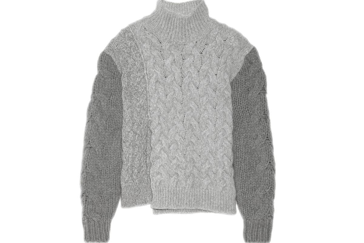 Mélange cable-knit wool-blend turtleneck sweater