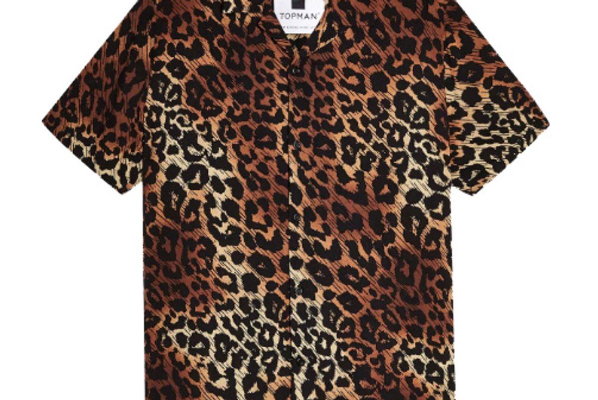 topman leopard print revere shirt