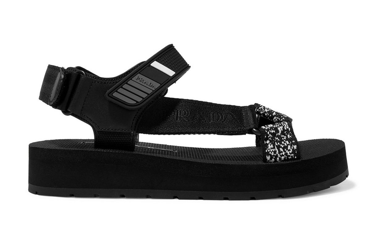 prada logo detailed leather canvas and rubber sandals