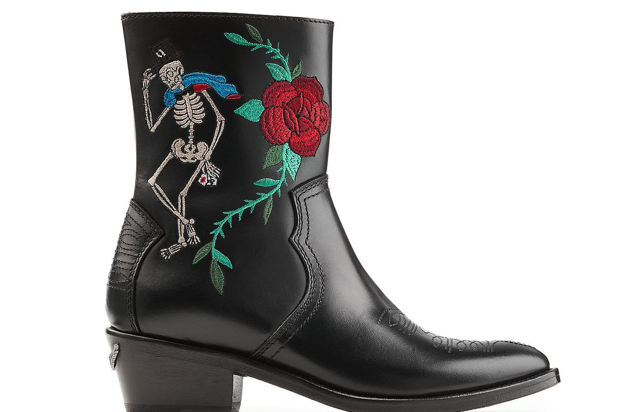 Embroidered Cowboy Leather Boots