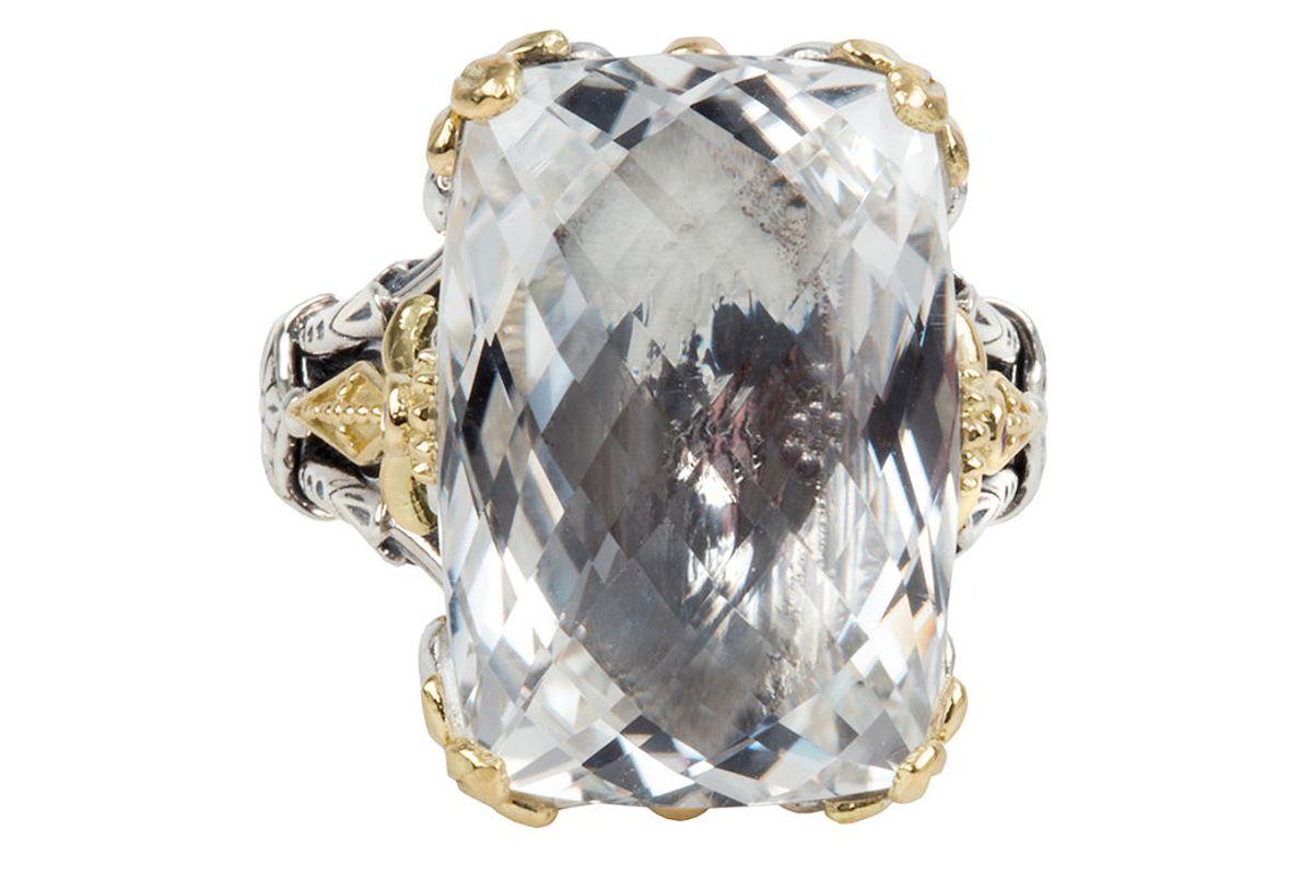 konstantino pythia onyx crystal rectangle ring with corundum