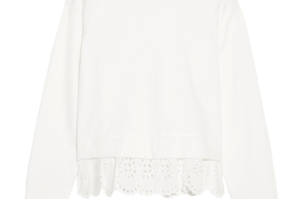 Cotton-Jersey and Broderie Anglaise Sweatshirt