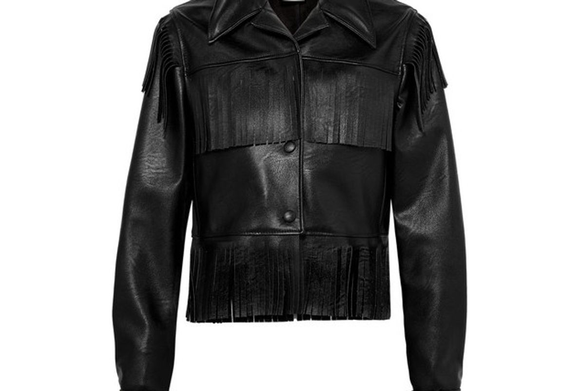 stella mccartney fringed faux textured leather jacket