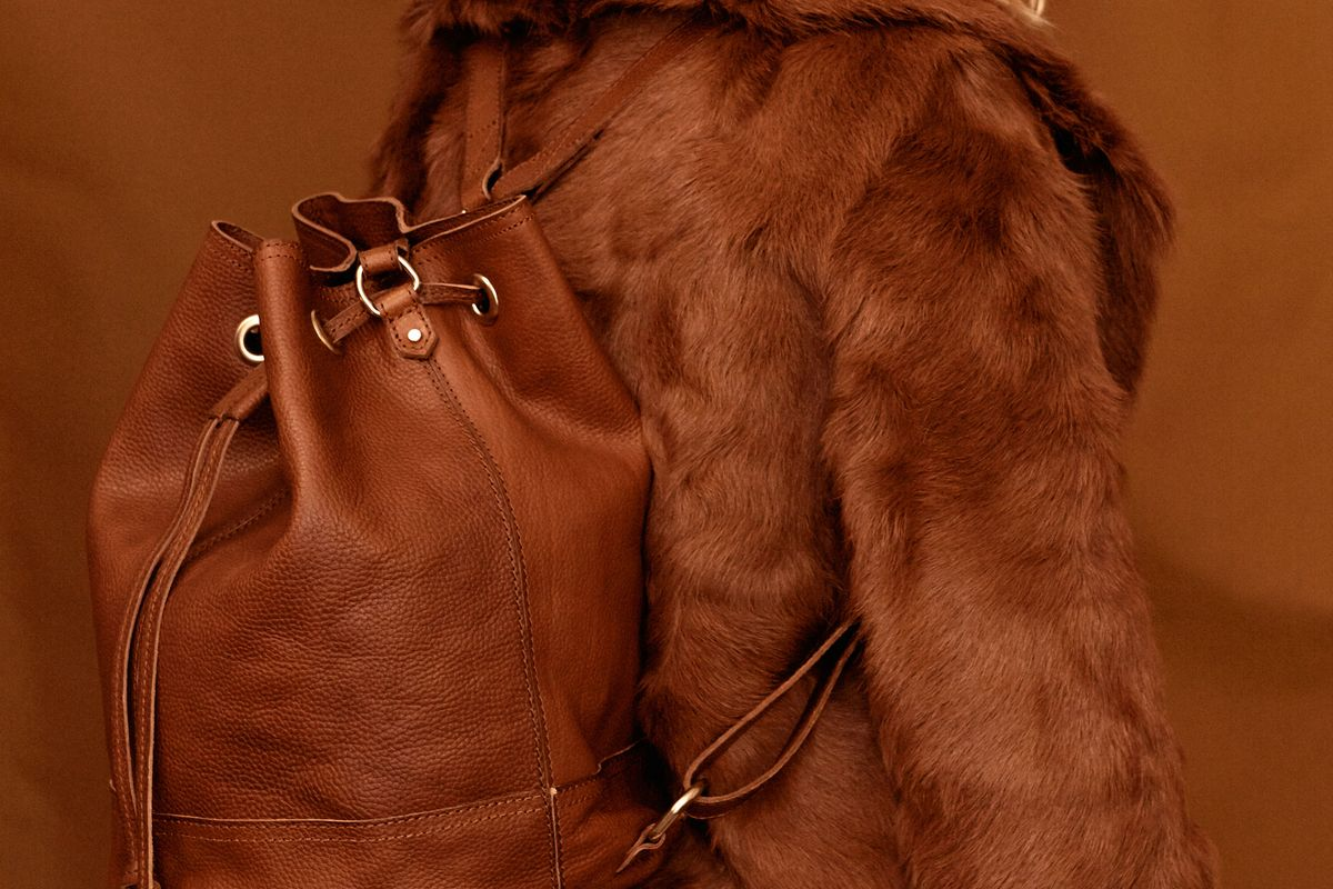 Brown Leather Bucket Backpack