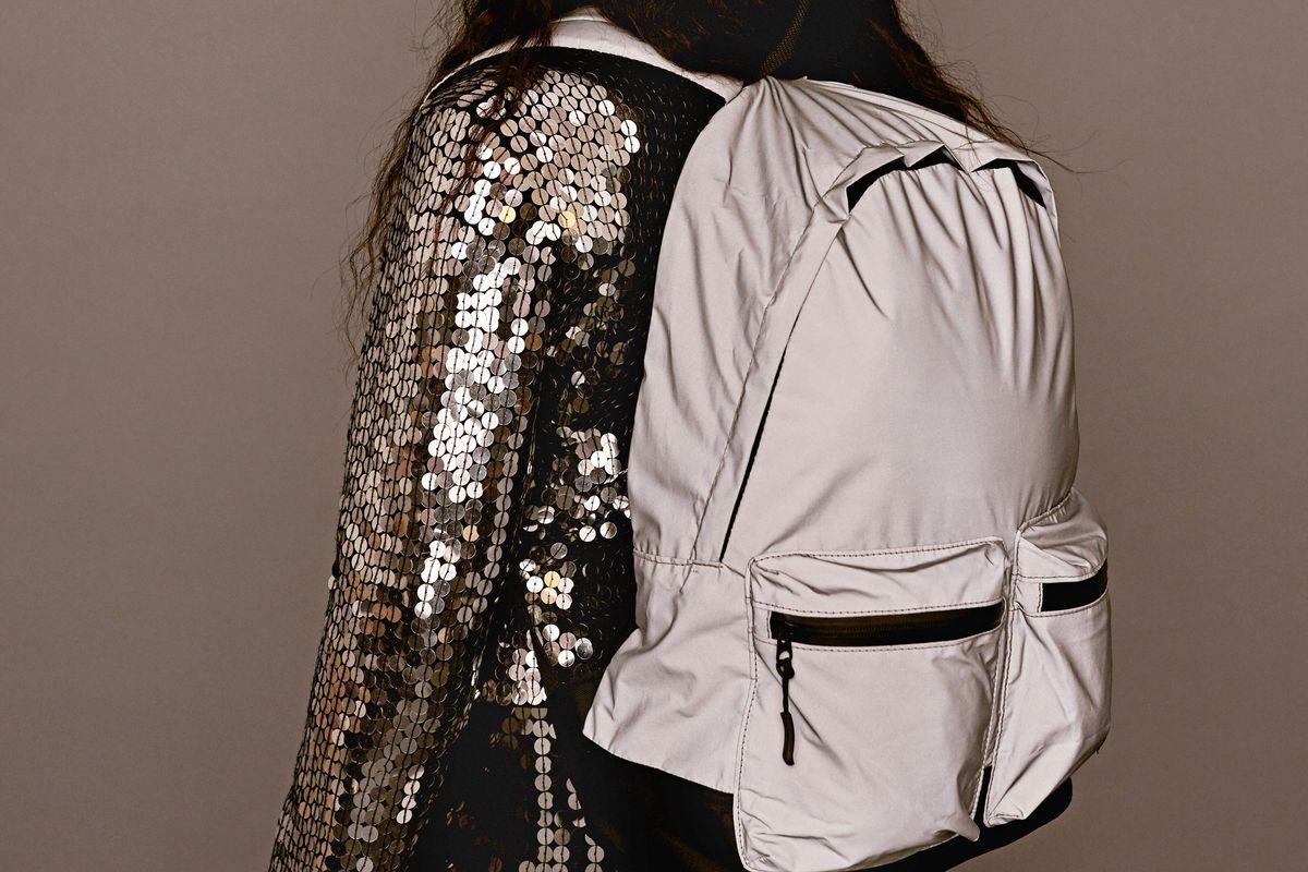 Silver Nylon Backpack