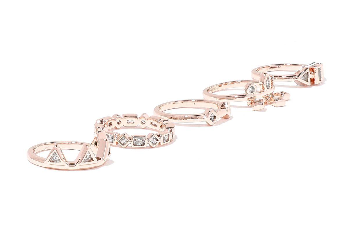 luv aj medley set of five gold tone crystal rings