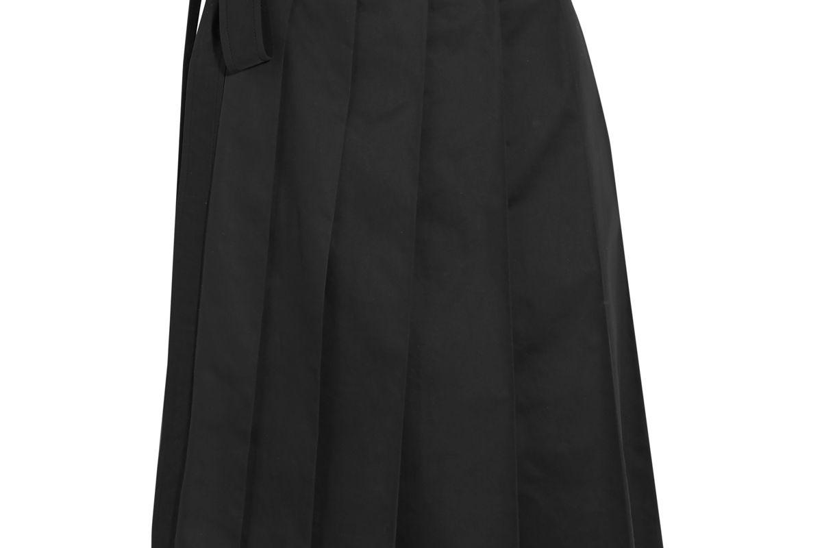 miu miu pleated cotton twill wrap mini skirt