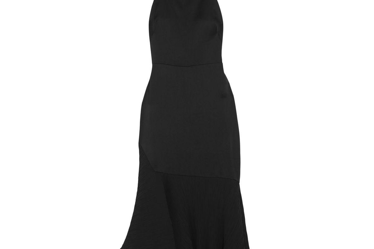 jason wu asymmetric plisse chiffon paneled satin crepe midi dress