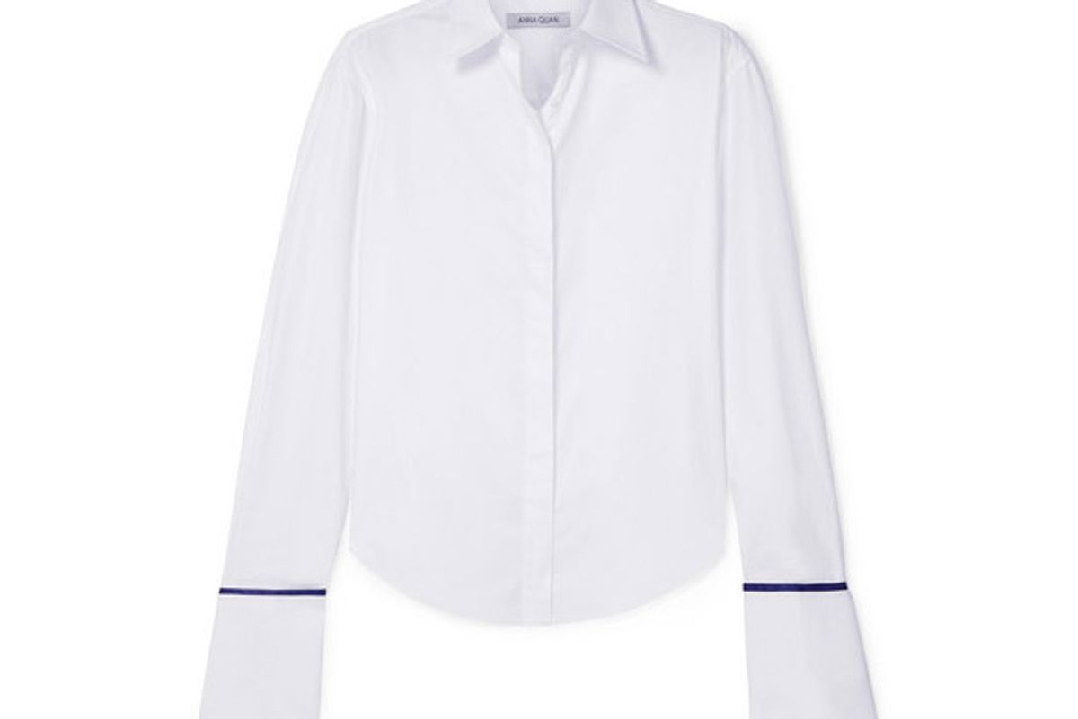 anne silk satin trimmed cotton twill shirt