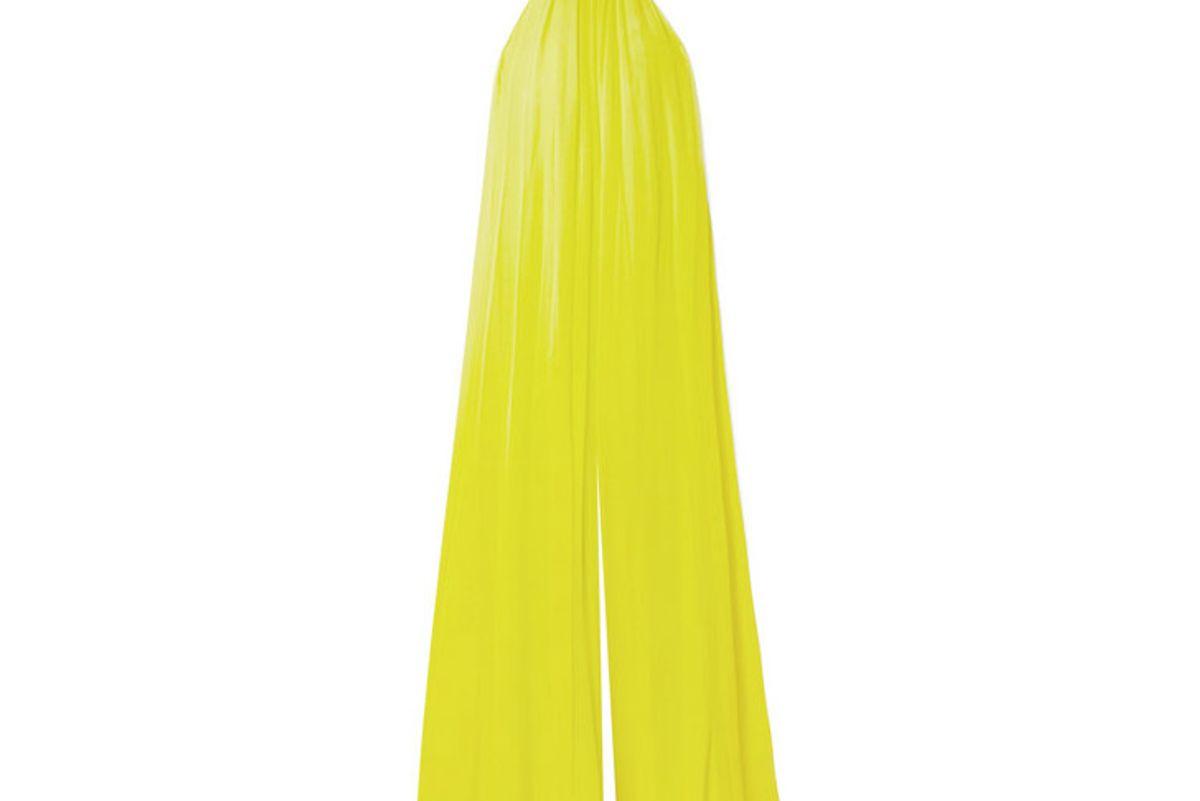 cushnie open back silk chiffon jumpsuit