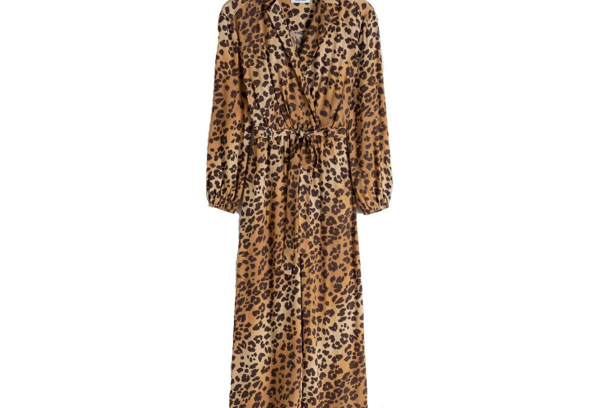 & other stories long sleeve leopard print jumpsuit