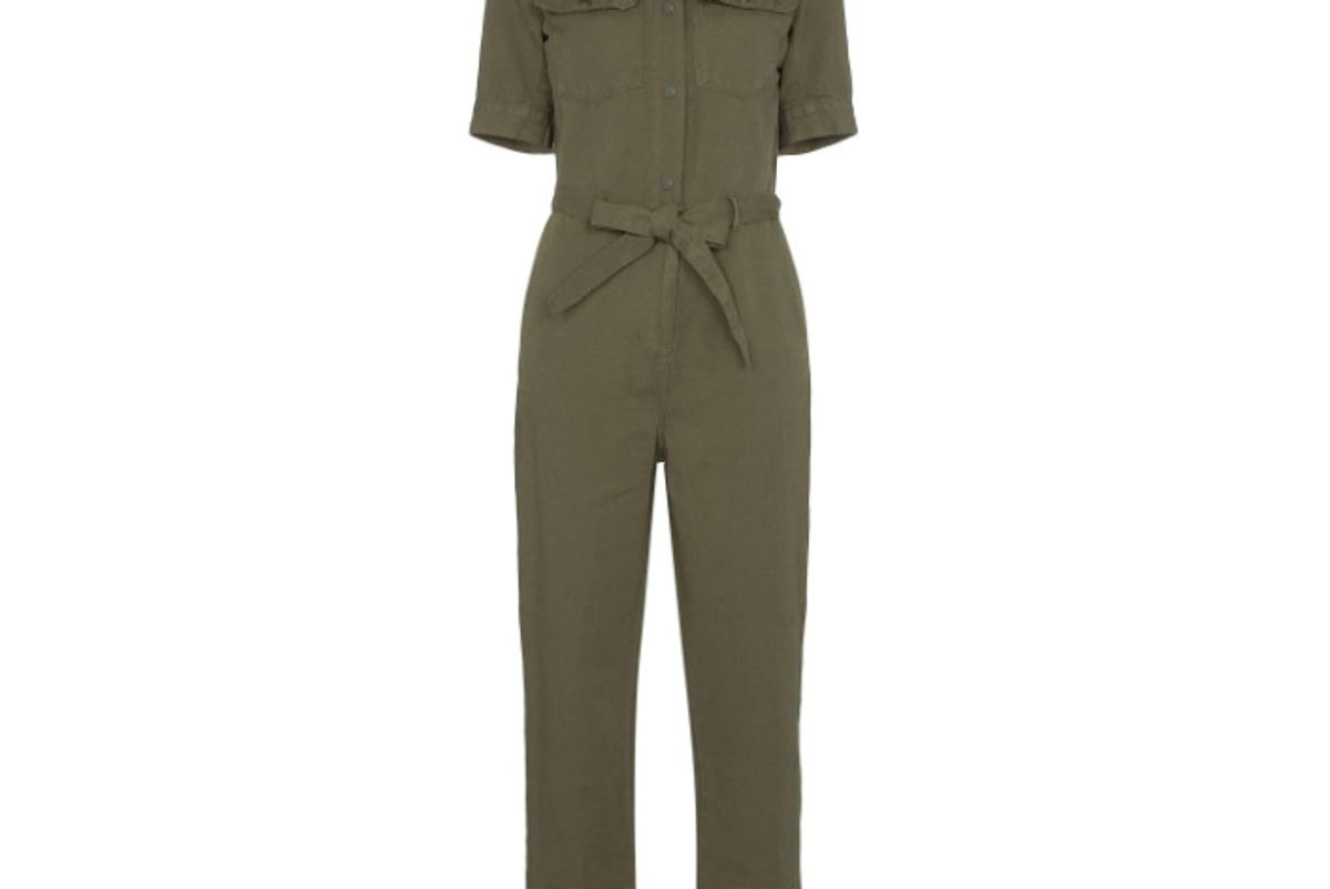 frame belted cotton and linen jumpsuit