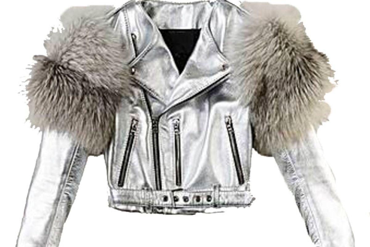 Metallic Moto Leather Jacket With Fur Sleeves