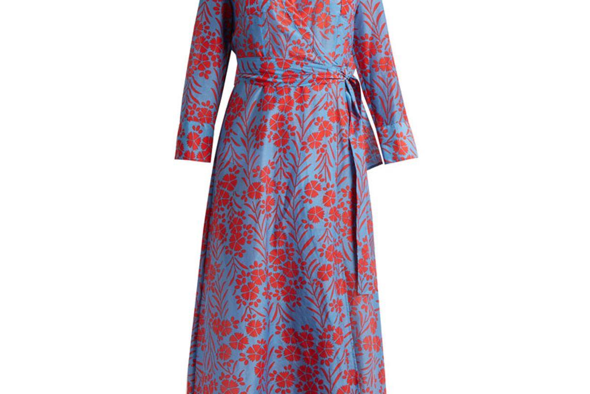 Point Collar Cotton and Silk Blend Dress