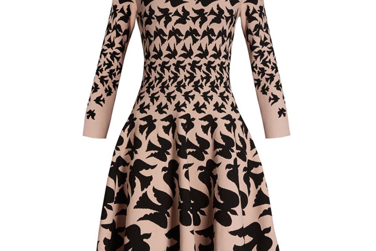 Doves-Intarsia Flared-Skirt Dress