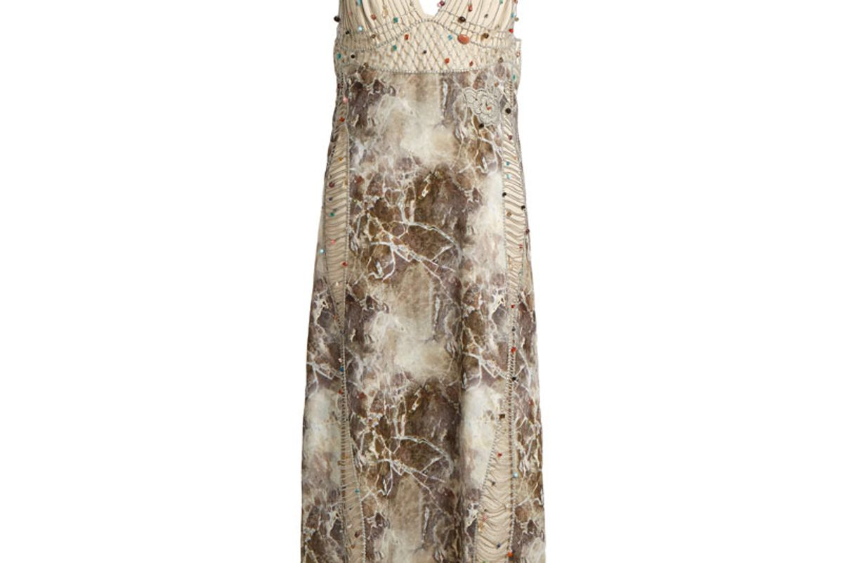 Marble-Print Embroidered Cady and Georgette Dress
