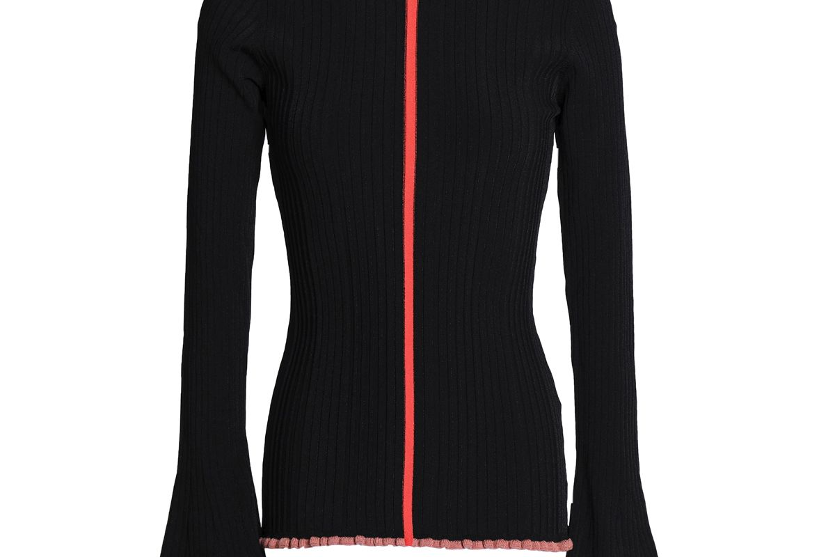 roksanda ruffle trimmed ribbed knit sweater