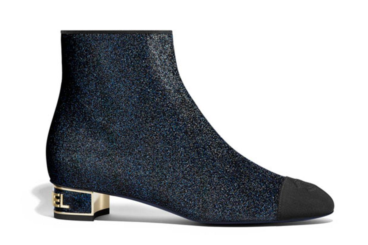 chanel glitter grosgrain short boots