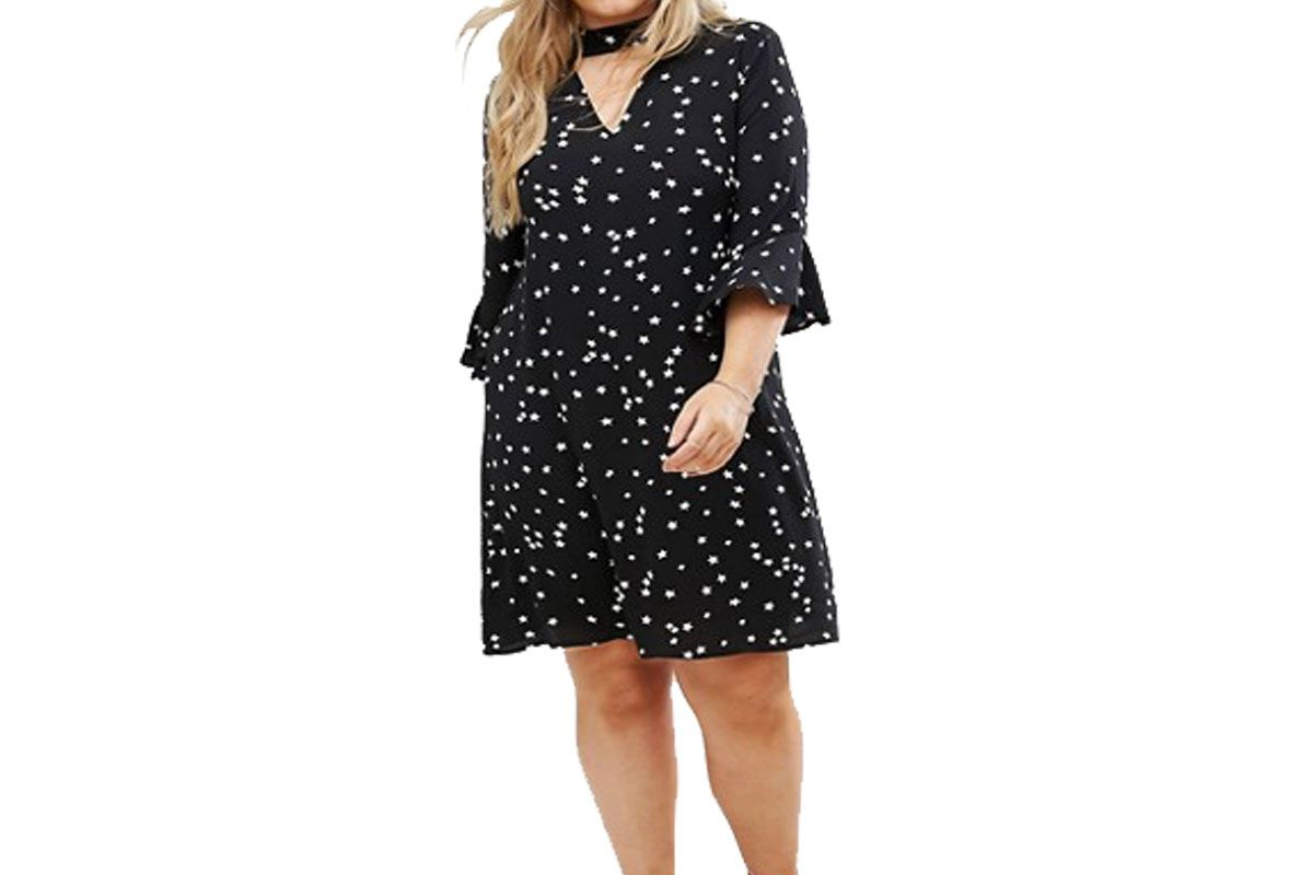 Alice & You Smock Dress With Choker Neck Detail In Star Print