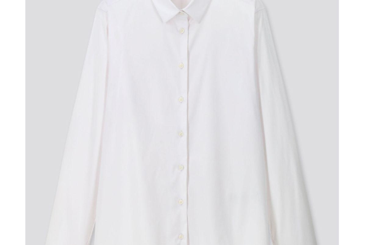 uniqlo women supima cotton stretch long sleeve shirt