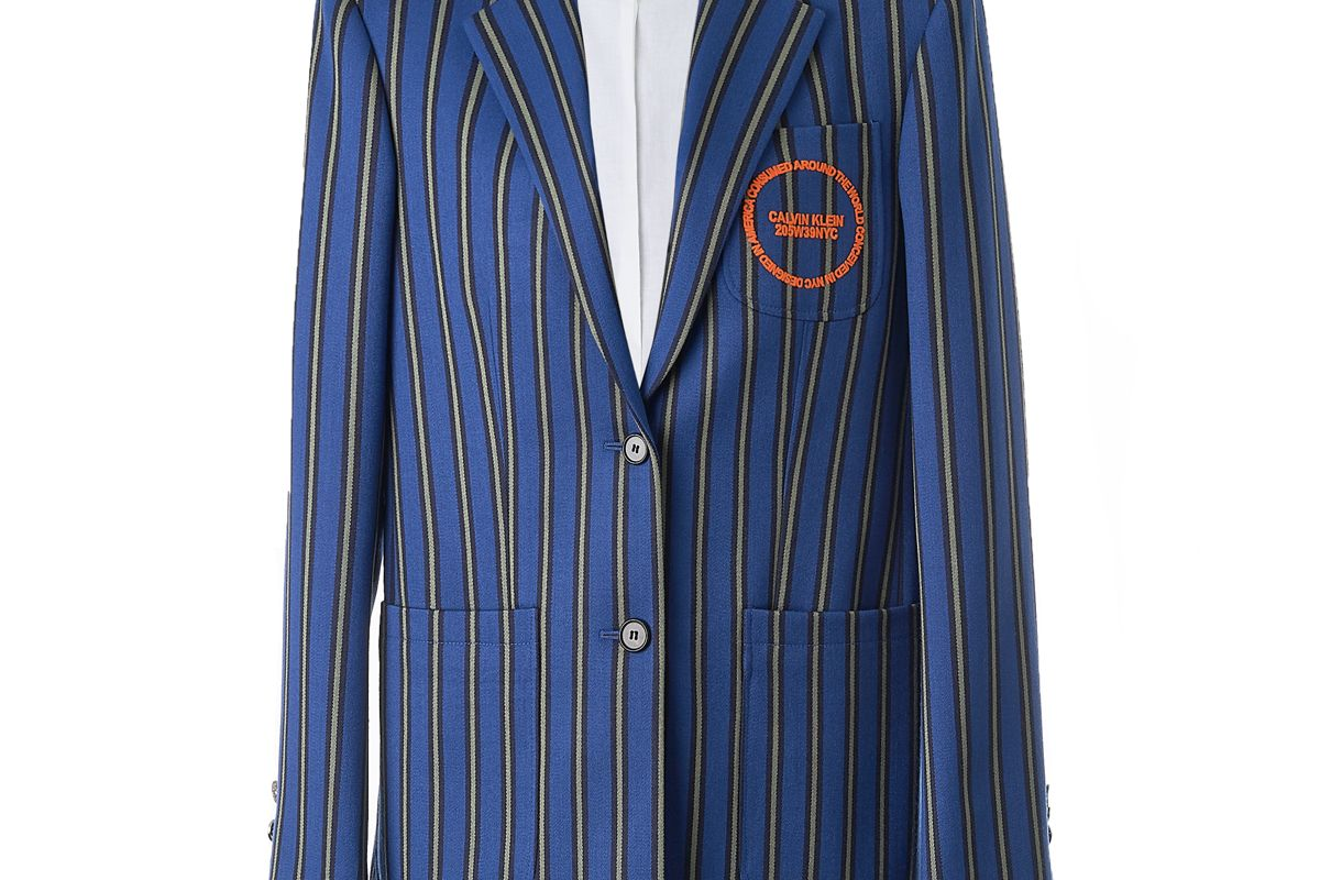 calvin klein 205w39nyc striped blazer