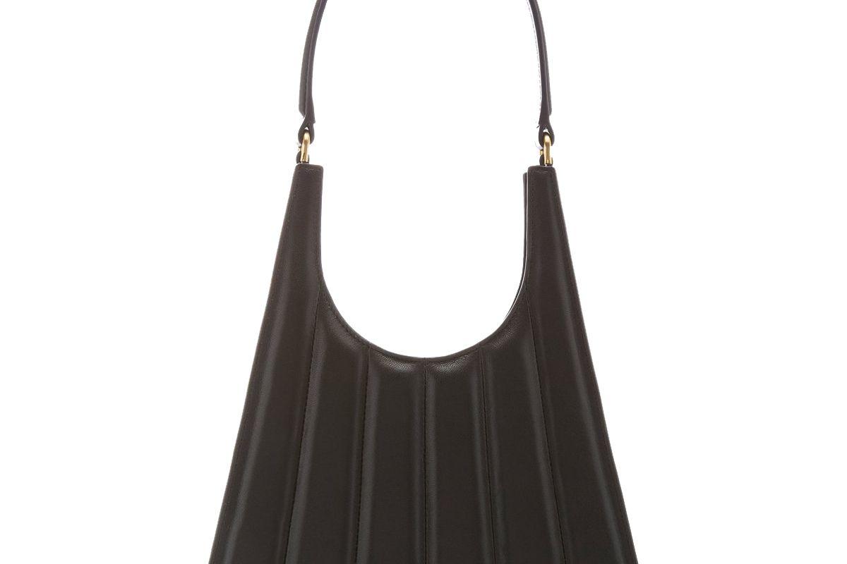 staud rey striped leather shoulder bag