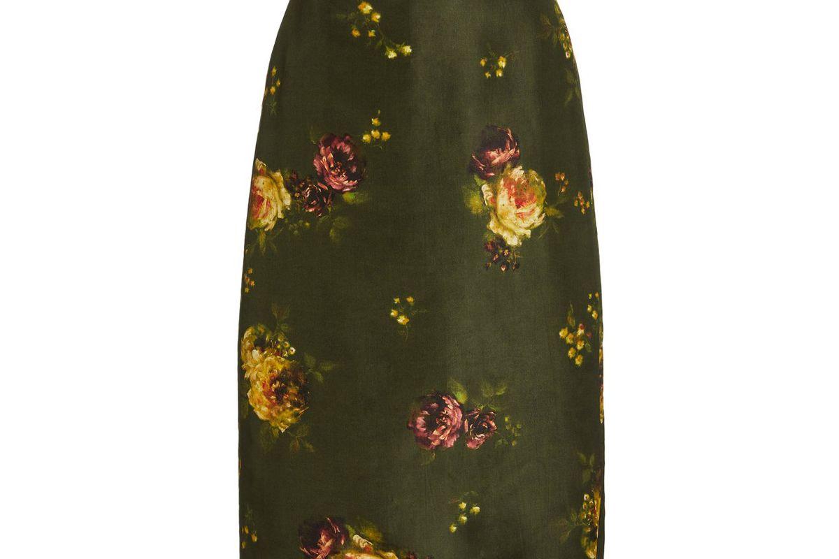 brock collection rabbit floral print silk skirt