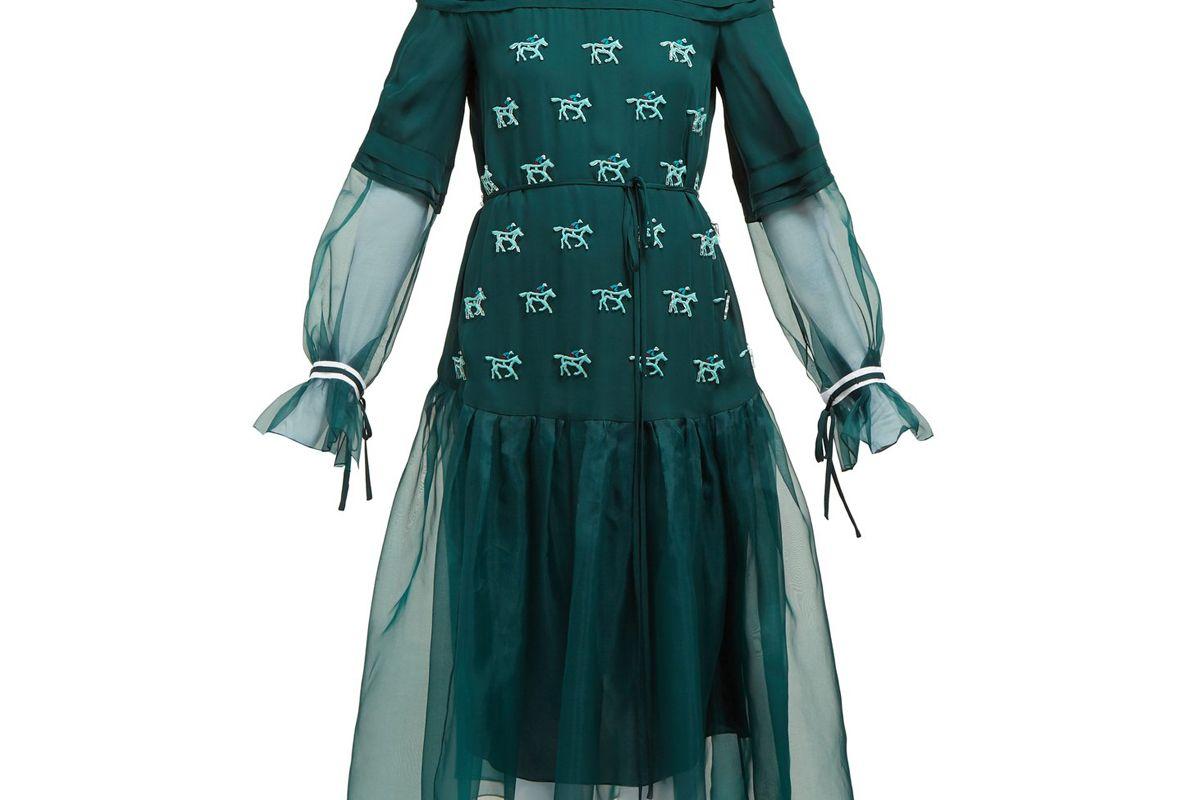carolina herrera horse applique silk dress