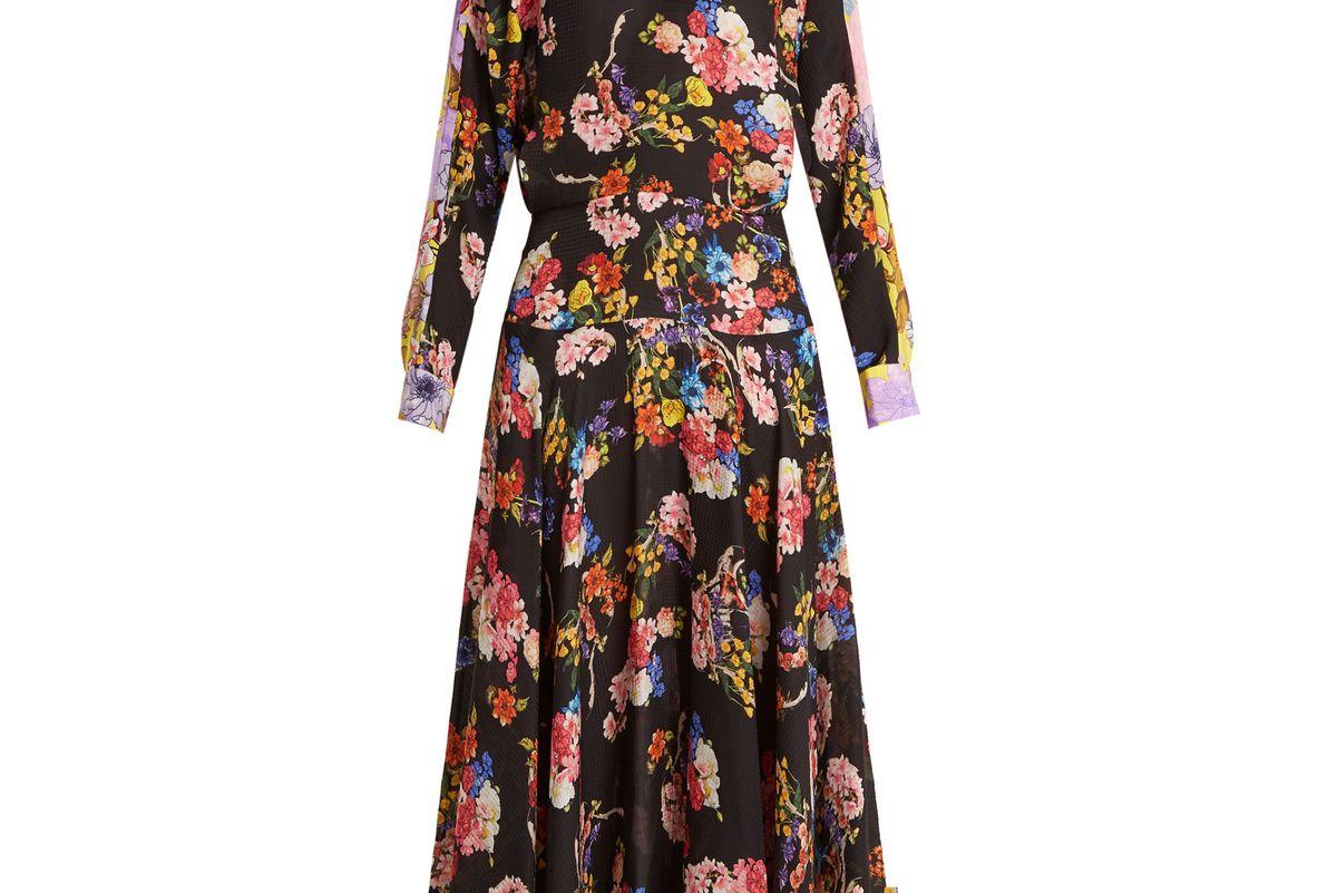 Imogen Floral-Print Hammered-Silk Dress