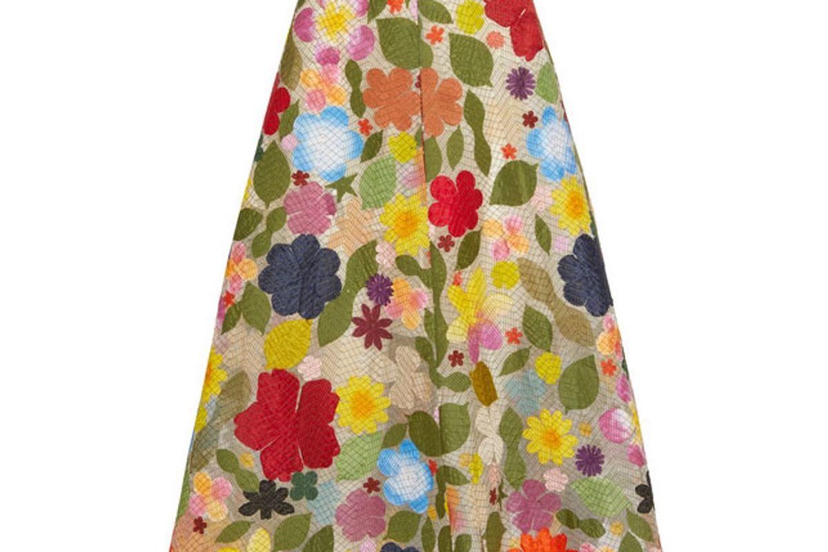 Hodges Podges Foral-Appliquéd Silk-Organza Midi Skirt