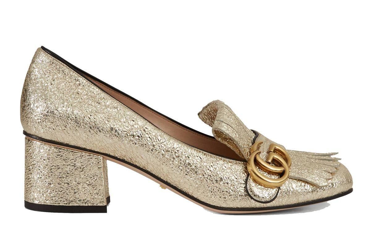 gucci metallic mid heel pump