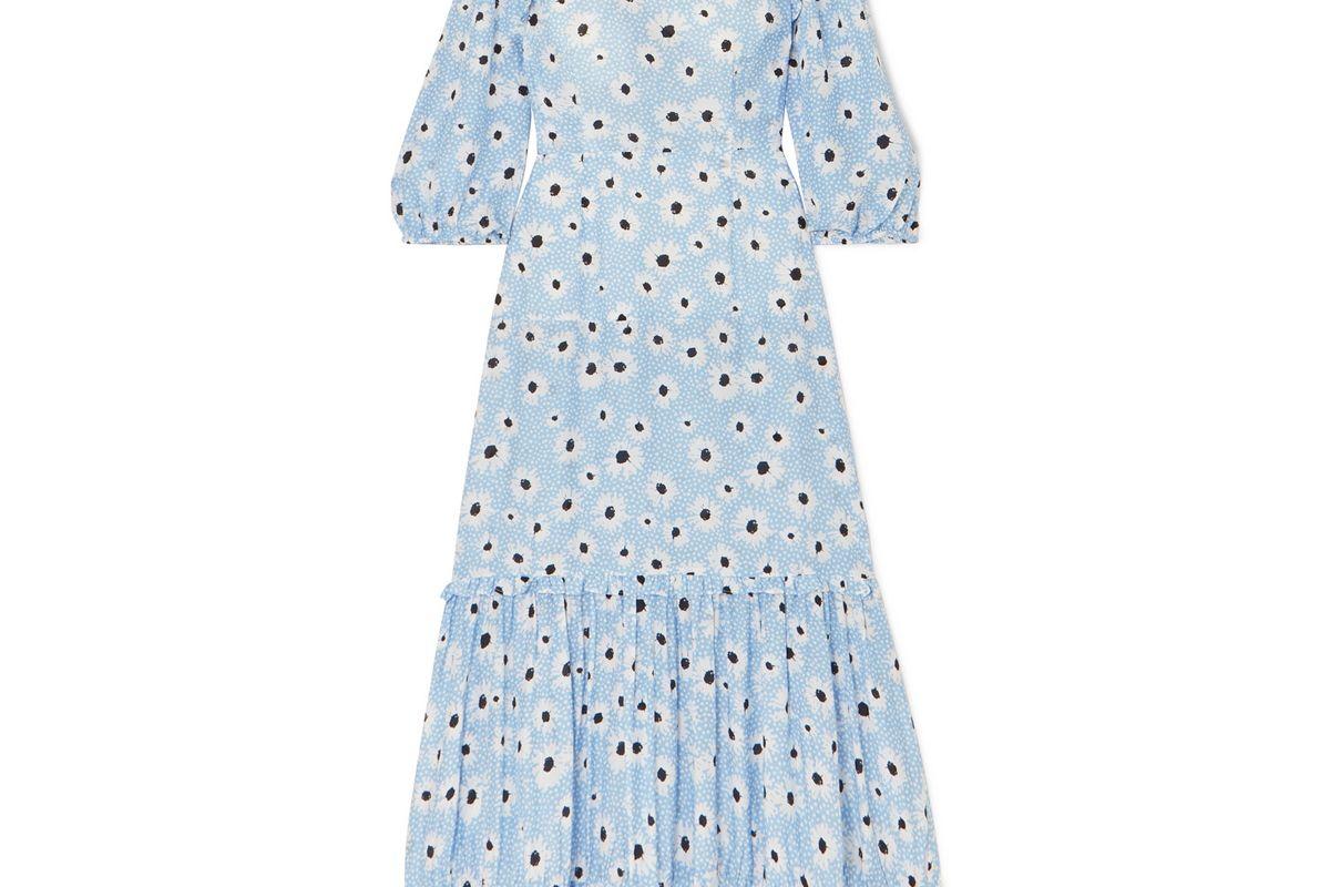 rixo monet ruffled floral print cotton and silk blend dress
